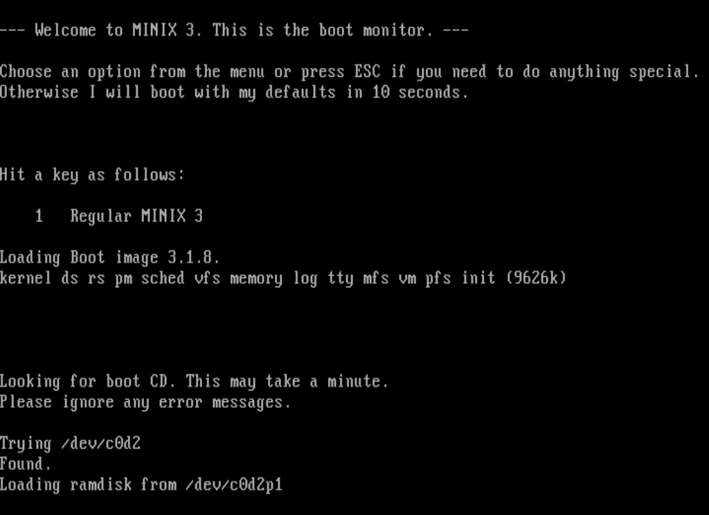 Minix3 running in QEMU